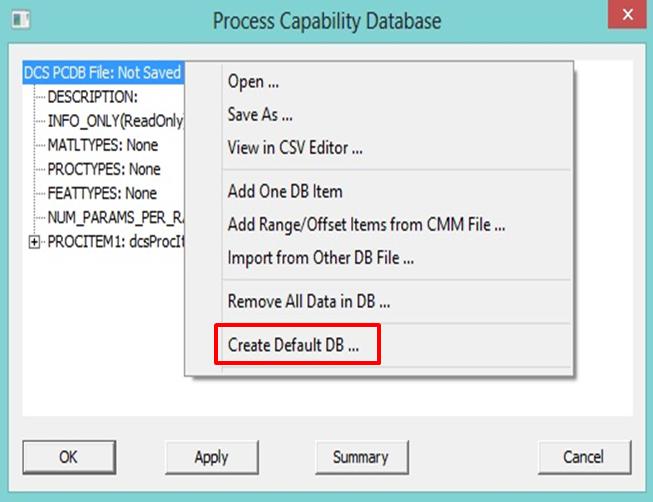 3DCS create new process database