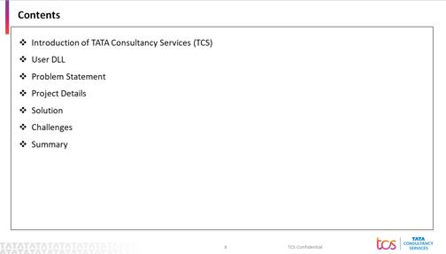TCS Presentation Agenda