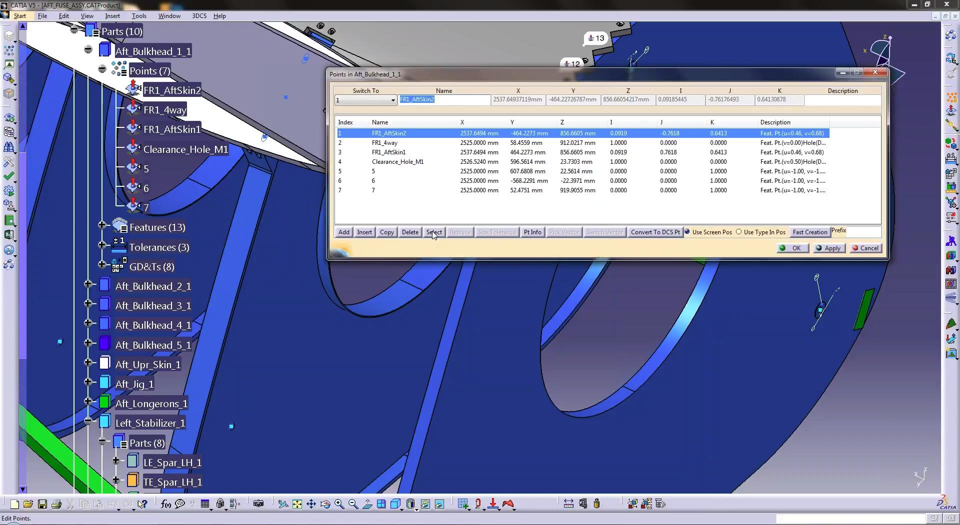 3DCS for CATIA V5 Point Dialog Box