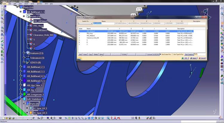 3DCS for CATIA V5 Point Dialog Box