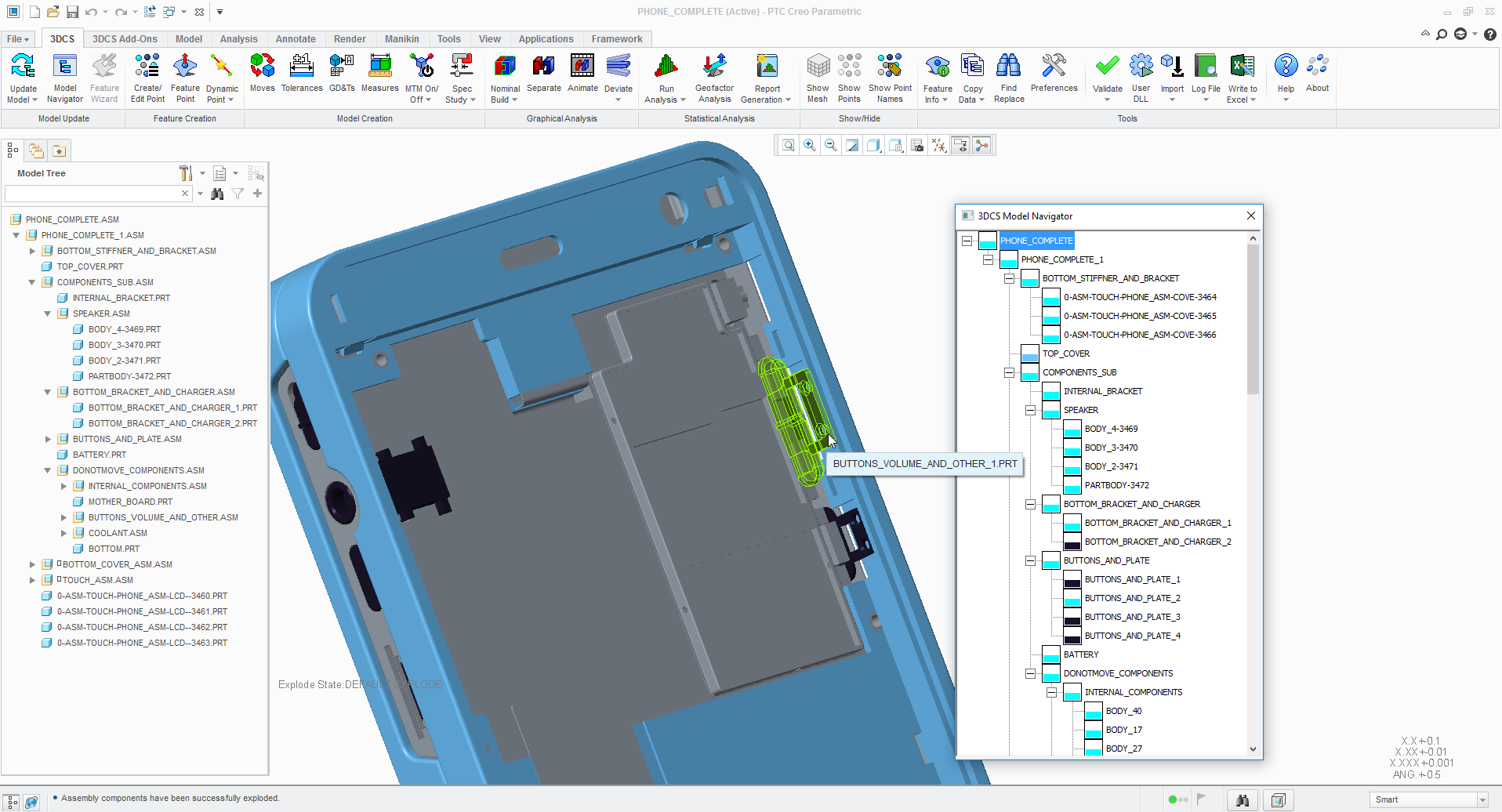 cell phone analysis - 3DCS integrated in PTC Creo Parametric