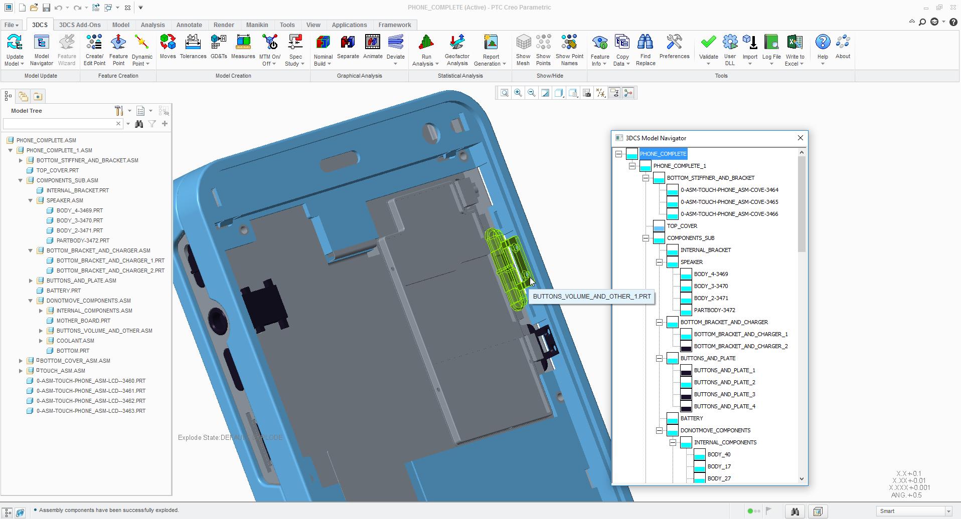 cell phone analysis - 3DCS integrated in PTC Creo Parametric
