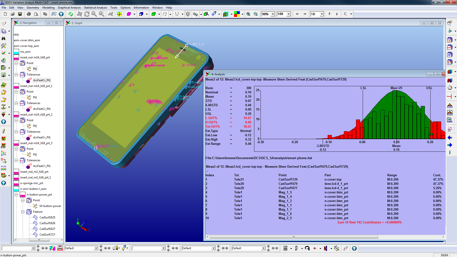 3DCS analysis measurement