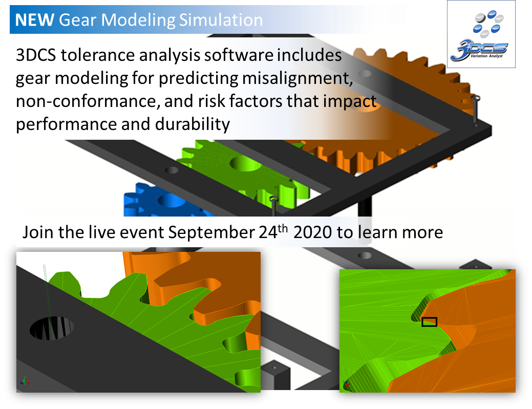 Tolerance Stack Up Simulation Now Includes Gear Modeling for Predicting Misalignment, Non-Conformance, and Risk Factors That Impact Performance and Durability