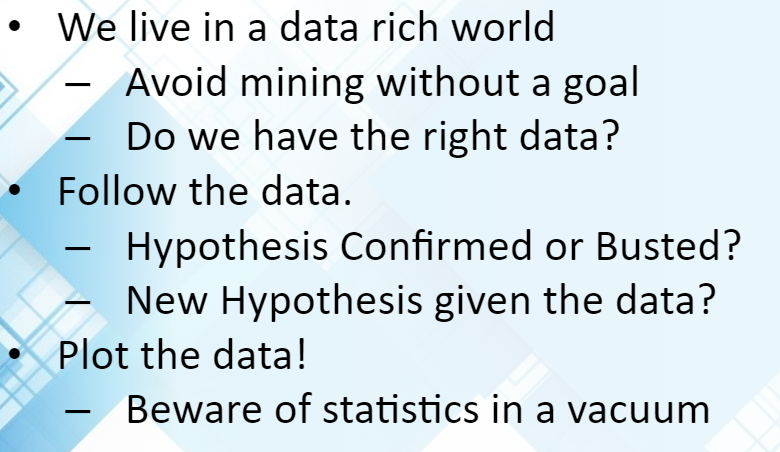 Beware of Statistics in a Vacuum - DCS
