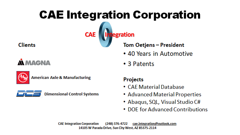 Meet the Presenter Gear Modeling Webinar - Tom Oetjens, CAE Integration Corporation